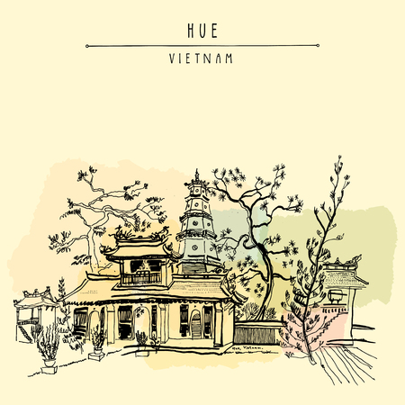 Hue, Vietnam, Southeast Asia. Thien Mu pagoda. Historic temple. Religious building. Former imperial capital's unofficial symbol. Artistic freehand drawing. Vintage postcard or poster in vector Stock Illustratie