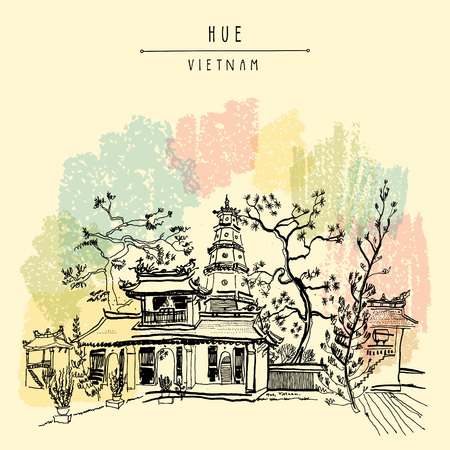 unofficial: Hue, Vietnam, Southeast Asia. Thien Mu pagoda. Historic temple. Religious building. Former imperial capitals unofficial symbol. Artistic freehand drawing. Vintage postcard or poster in vector Illustration