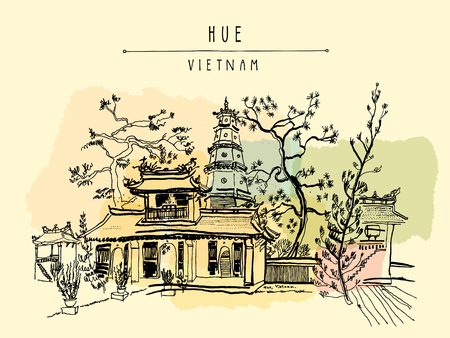 postcard: Hue, Vietnam, Southeast Asia. Thien Mu pagoda. Historic temple. Religious building. Former imperial capitals unofficial symbol. Artistic freehand drawing. Vintage postcard or poster in vector Illustration