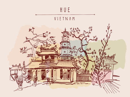 Hue, Vietnam, Southeast Asia. Thien Mu pagoda. Historic temple. Religious building. Former imperial capital's unofficial symbol. Artistic freehand drawing. Vintage postcard or poster in vector Illustration