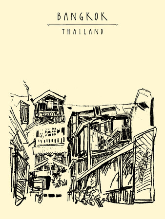 laid back: Bangkok, Thailand, Asia. Old laid back traditional houses in a poor neighborhood. Travel sketch. Artistic vintage hand drawn touristic postcard. Vector illustration