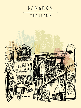 postcard: Bangkok, Thailand, Asia. Old laid back traditional houses in a poor neighborhood. Travel sketch. Artistic vintage hand drawn touristic postcard. Vector illustration