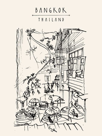 Chicken cages in a backyard in old Bangkok, Thailand. Vertical vintage touristic handdrawn postcard, poster or book illustration in vector Ilustrace