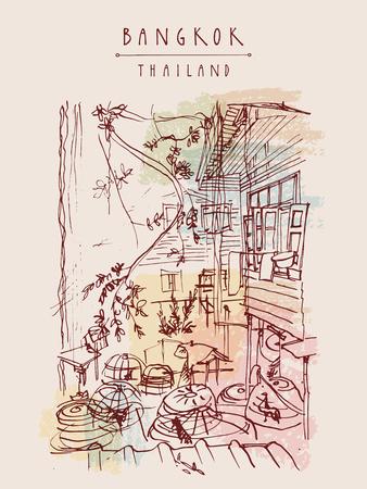 Bangkok, Thailand, Asien. Alte Entspannte Traditionellen Häuser In ...