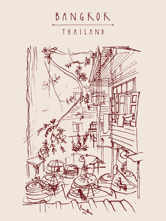 backyard: Chicken cages in a backyard in old Bangkok, Thailand. Vertical vintage touristic handdrawn postcard, poster or book illustration in vector Illustration