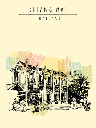 eclectic: Chiang Mai, Thailand, Asia. Nice eclectic style building with reliefs and sculptures. Vintage hand drawn postcard template or book illustration in vector