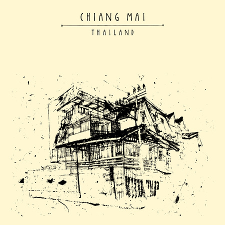 touristic: A building in Chiang Mai, Thailand, Asia. 20th century. Hand drawing. Vintage artwork. Travel sketch. Book illustration, touristic postcard or poster in vector Illustration