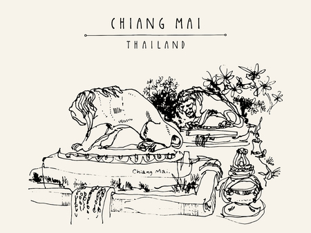 eclectic: Chiang Mai, Thailand. Nice eclectic style building entrance with sculptures of lions. Travel sketch. Vintage hand drawn touristic postcard, poster, book illustration in vector