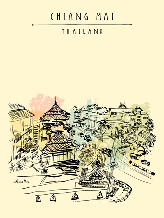 Hotel on Ratchamanka street in Chiang Mai, Thailand, Southeast Asia. Hand drawing. Vintage artwork. Travel sketch. Book illustration, touristic postcard or poster in vector Illustration