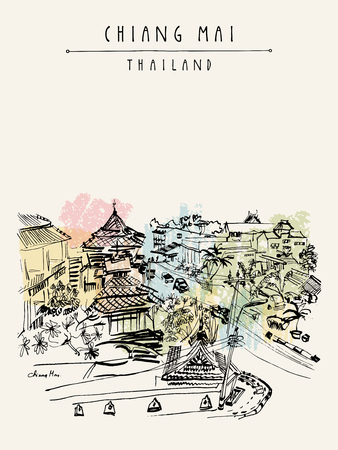 touristic: Hotel on Ratchamanka street in Chiang Mai, Thailand, Southeast Asia. Hand drawing. Vintage artwork. Travel sketch. Book illustration, touristic postcard or poster in vector Illustration