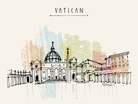 saint peter: Saint Peter cathedral and Apostolic Palace in Vatican city, Europe. Hand drawing. Travel sketch. Vintage touristic postcard, poster, calendar or book illustration in vector Illustration