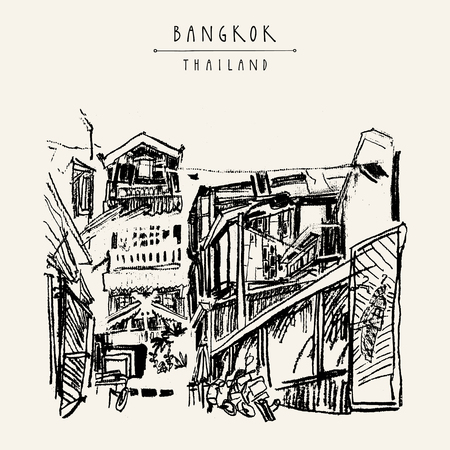 laid: Bangkok, Thailand, Asia. Old laid back traditional houses in a poor neighborhood. Travel sketch. Artistic vintage hand drawn touristic postcard. Vector illustration