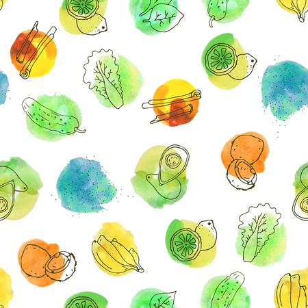 귀여운 손으로 그린 원활한 패턴과 건강 식품 및 야채 - 아보카도, 바나나, 코코넛, 상 추, spirulina, 계 피, 오이, 시금치, 레몬. 신선한 다채로운 수 일러스트