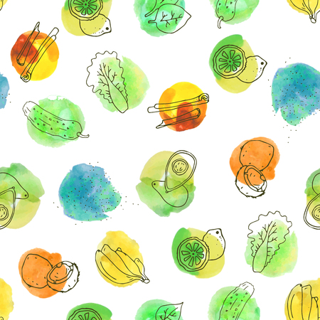 Cute hand-drawn seamless pattern with healthy foods and vegetables - avocado, banana, coconut, lettuce, spirulina, cinnamon, cucumber, spinach, lemon. Fresh colorful watercolor blots. Vector illustration