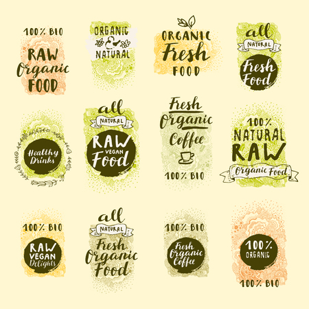 Bio Organic Fresh Coffee, Natural Food, Raw Vegan Delights. Vector handdrawn restaurant, cafe, bakery menu labels, badges, stickers, logos, banners, posters with awesome zen inspired doodle background