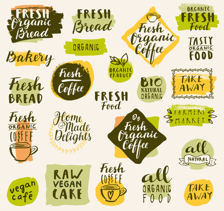 fresh food: Bio organic labels set. Fresh Bread Bakery. Farmers Market. Food and drinks for healthy life. Fresh organic food and coffee labels collection. Logo templates. Beautiful calligraphic badges in vector