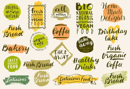 bakery products: Bio organic labels set. Fresh Bread Bakery. Farmers Market. Food and drinks for healthy life. Fresh organic food and coffee labels collection. Logo templates. Beautiful calligraphic badges in vector