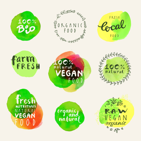 Watercolor organic labels collection. Retro style set of 100% bio organic gluten free eco bio food restaurant menu logo label templates with floral and vintage elements and watercolour splashes in vector