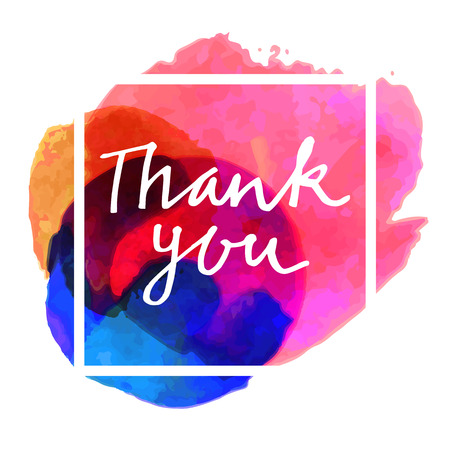 Thank You hand-drawn card on colorful watercolor background with a square frame. Thank you modern calligraphy. Hand lettered calligraphic greeting card in vector