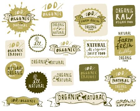 Biologisch voedseletiketten. Vector verse gezonde voeding pictogrammen. Vintage badges voor restaurant menu of voedselpakket in hipster-stijl