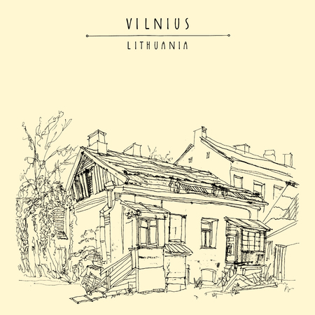 traditional house: Traditional house in Vilnius old town, Lithuania, Europe. Travel sketch. Vintage artwork. Hand drawn artistic postcard or poster template, touristic calendar or book illustration in vector