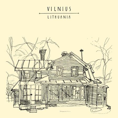 back yard: Old wooden house in Vilnius, Lithuania, Europe. Travel sketch. Vintage artwork. Hand drawn artistic postcard or poster template, calendar or book illustration in vector