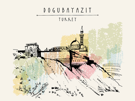 touristic: Ishak Pasha Palace in Dogubayazit, Eastern Turkey, Asia. Vintage hand drawn touristic  postcard, poster, calendar or book illustration in vector