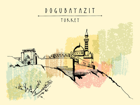 Ishak Pasha Palace in Dogubayazit, Eastern Turkey, Asia. Vintage hand drawn touristic  postcard, poster, calendar or book illustration in vector