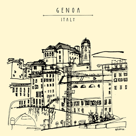 touristic: View of Genoa, Liguria, Italy, Europe. Artistic hand drawn vintage book illustration,  touristic postcard or poster in vector Illustration