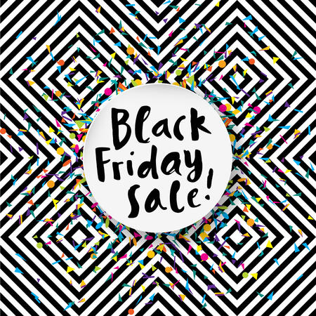 Ehrfürchtiger schwarzer Freitag Verkauf Poster auf nahtlose geometrische Hintergrund mit Konfetti und Handbeschriftung Standard-Bild - 64872103