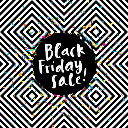 Awesome Black Friday Sale poster on seamless geometric background with confetti and hand lettering Illustration
