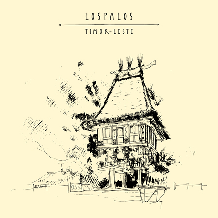 southeast asia: Sacred house in Lospalpos, Timor-Leste (East Timor), Southeast Asia. Travel sketch. Vintage hand drawn touristic postcard, poster, calendar or book illustration in vector