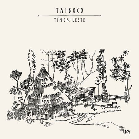 Thatched kitchen in a remote village of Taiboco, Oecussi enclave, Timor-Leste (East Timor), Southeast Asia. Travel sketch. Vintage hand drawn touristic postcard, poster, calendar or book illustration in vector