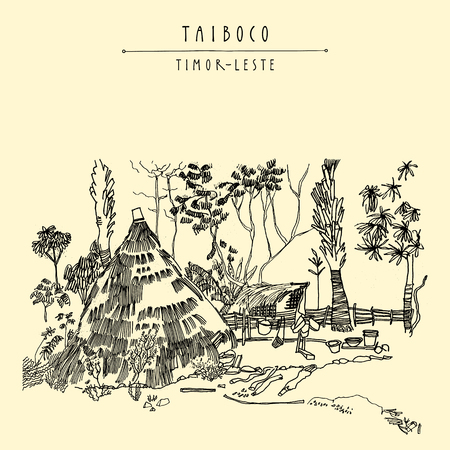 thatched: Thatched kitchen in a remote village of Taiboco, Oecussi enclave, Timor-Leste (East Timor), Southeast Asia. Travel sketch. Vintage hand drawn touristic postcard, poster, calendar or book illustration in vector