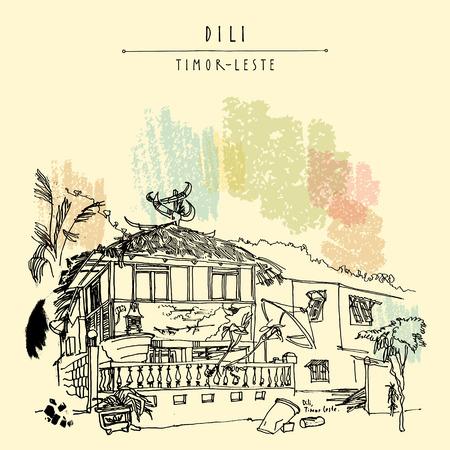 ディリ、東ティモール (東ティモール)、東南アジアの首都の伝統的な家は。旅行スケッチ。ヴィンテージ手ベクトルの観光はがき、ポスター、カレ  イラスト・ベクター素材