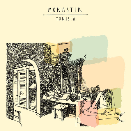 Hotel room in Monastir, Tunisia, Northern Africa. Girl sitting, drawing or writing. Authentic Arabic interior in ethnic style. Touristic poster, postcard or book illustration in vector
