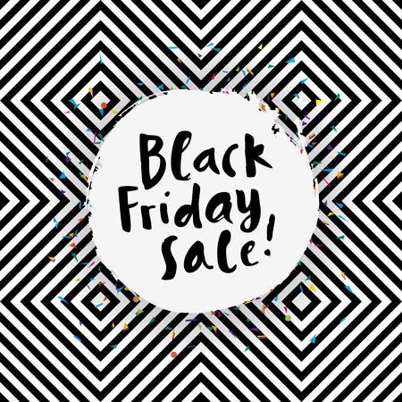 discount banner: Awesome Black Friday Sale poster on seamless geometric background hand lettering Illustration