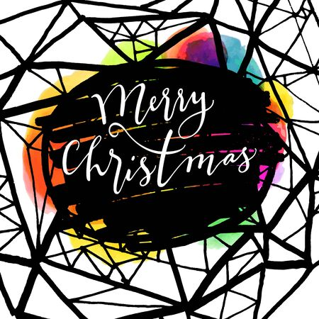 joyeux: Merry Christmas modern calligraphic hand lettered greeting card. Modern calligraphy. Trendy abstract graphic design, expressive ink street art elements. Elegant Merry Christmas hand lettering. Vector Illustration