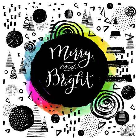 Merry and Bright. Modern calligraphy. Handwritten inspirational Merry Christmas quote. Calligraphic hand lettered greeting card with watercolor and winter hand drawn background. Vector Illustration