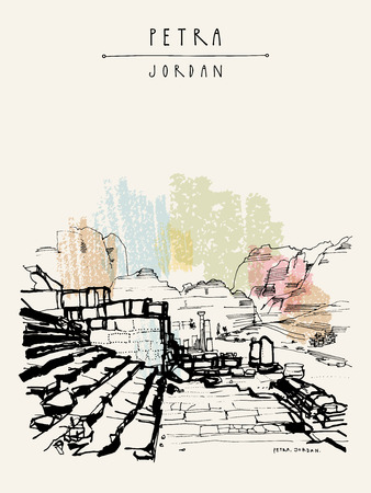 Petra historical site, Jordan, Middle East. Ancient Roman architectural ruins. Vintage artistic hand drawn postcard, poster, calendar or book illustration in vector Illustration