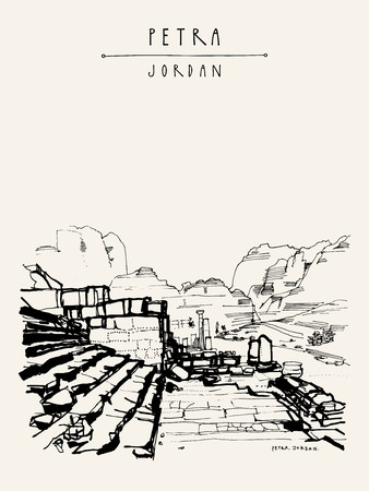Petra historical site, Jordan, Middle East. Ancient Roman architectural ruins. Vintage artistic hand drawn postcard, poster, calendar or book illustration in vector