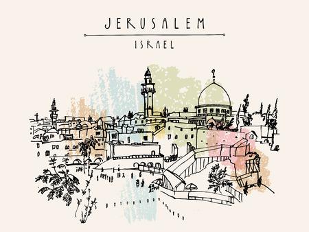 Jerusalem, Israel. City skyline. Wailing wall. Travel sketch. Hand drawn touristic postcard, poster, calendar or book illustration. Jerusalem city view postcard with hand lettering in vector