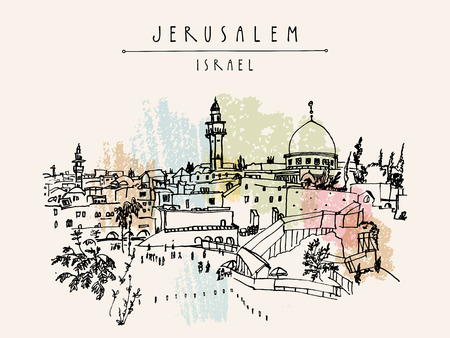 Jerusalem, Israel. City skyline. Wailing wall. Travel sketch. Hand drawn touristic postcard, poster, calendar or book illustration. Jerusalem city view postcard with hand lettering in vector