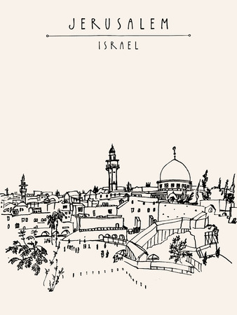 Jerusalem, Israel. City skyline. Wailing wall. Hand drawing. Postcard poster template. Jerusalem city view postcard with hand lettering