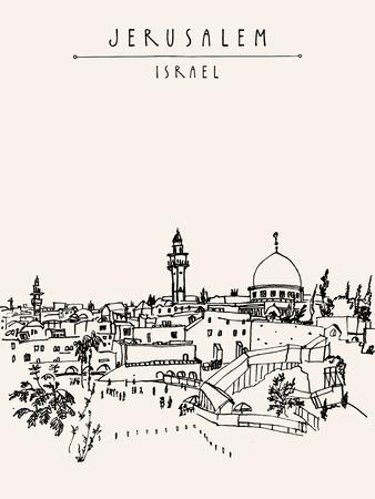 Jeruzalem, Israel. skyline van de stad. Klaagmuur. Hand tekenen. Postcard poster template. Jeruzalem uitzicht op de stad postkaart met de hand belettering