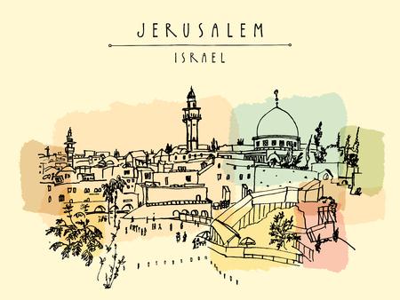 Jerusalem, Israel. Skyline der Stadt. Klagemauer. Handzeichnung. Postkarte Plakat Vorlage. Jerusalem Blick auf die Stadt Postkarte mit Hand Schriftzug Standard-Bild - 66244981
