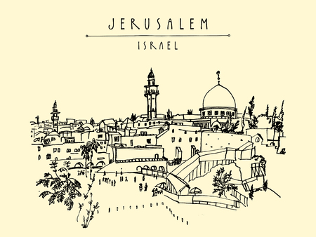 western town: Jerusalem, Israel. City skyline. Wailing wall. Hand drawing. Postcard poster template. Jerusalem city view postcard with hand lettering