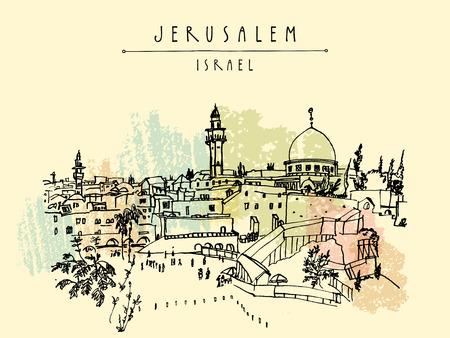 Gerusalemme, Israele. skyline della città. Muro del pianto. disegno a mano. poster modello cartolina. Gerusalemme vista sulla città cartolina con scritte a mano Vettoriali