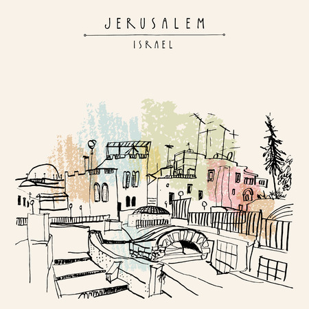 Roofs of Jerusalem above Arabic market, Israel. Jewish quoter. Travel sketch. Hand drawn touristic postcard, poster, calendar or book illustration. Jerusalem city view postcard with hand lettering in vector