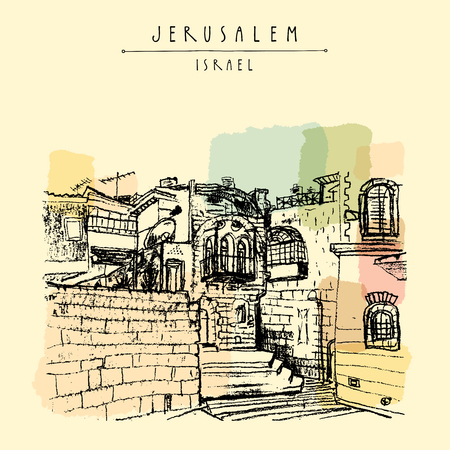 Jerusulaem old town. Aged buildings, stairs, windows, balcony. Travel sketch. Hand drawn touristic postcard, poster, calendar or book illustration. Jerusalem city view postcard with hand lettering in vector Vetores